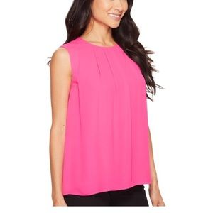 Vince Camuto Sleeveless Pleated Front Blouse XS